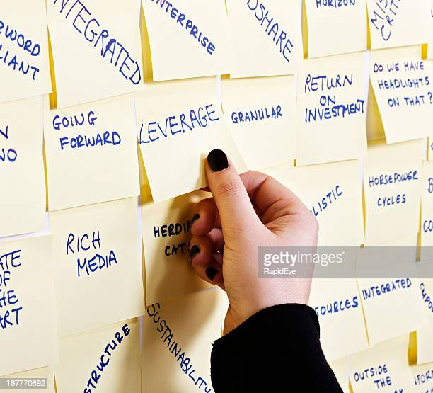 Woman's hand takes 'Leverage' note from buzzword packed noticeboard