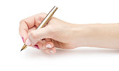 Woman's hand writing with pen on white background.