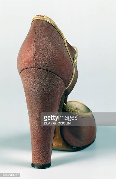 Woman's highheeled sandal with gold edging 19301939 rear view Italy 20th century Vigevano Castello Visconteo Sforzesco Museo Della Calzatura E Della...
