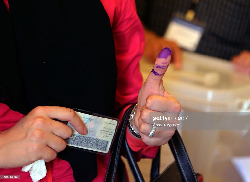 A woman's inked finger is seen after she casted her vote at a polling station during the Lebanese Local elections in Tripoli, Lebanon on May 29, 2016.