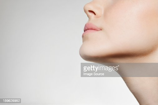 Womans jaw, low angle