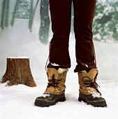 Woman's legs standing in snow