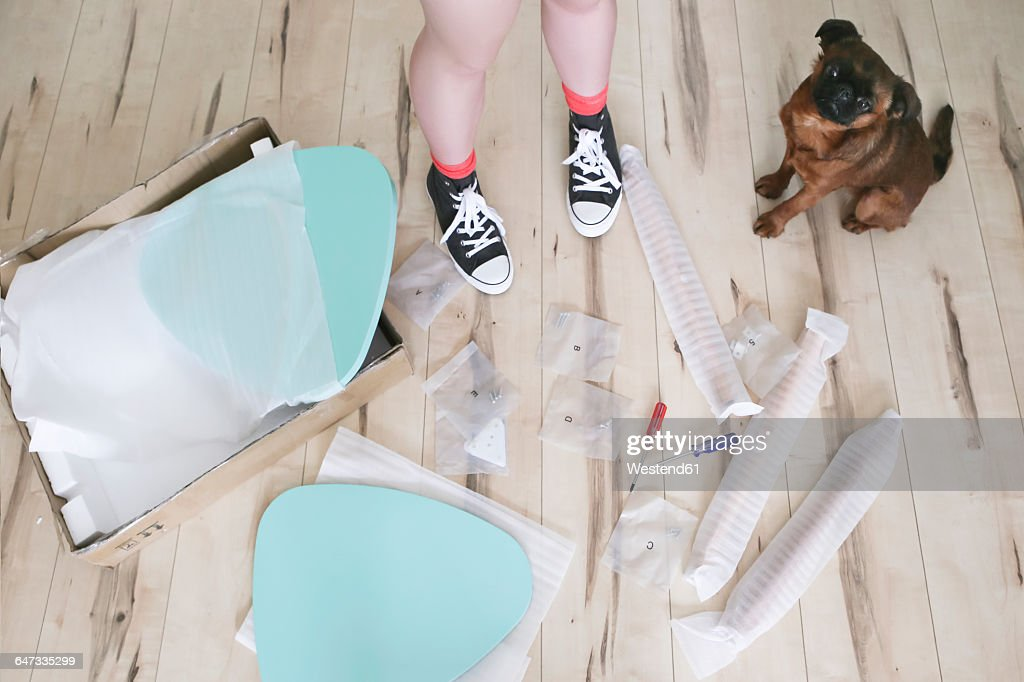 Womans legs surrounded by unassembled table pieces with her dog
