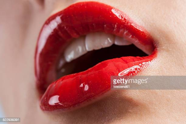 Woman's lips with red lipstick