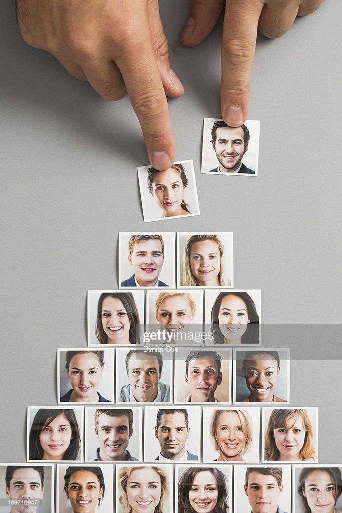 Woman's portrait selected over man to head pyramid