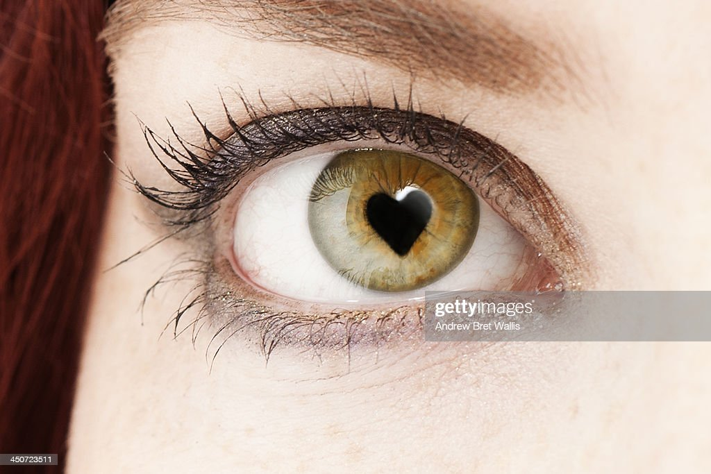 Woman's pupil forms the shape of a love heart