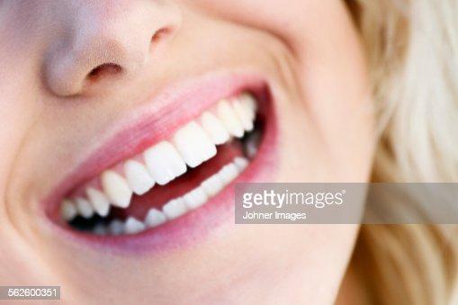 Womans smile, close-up