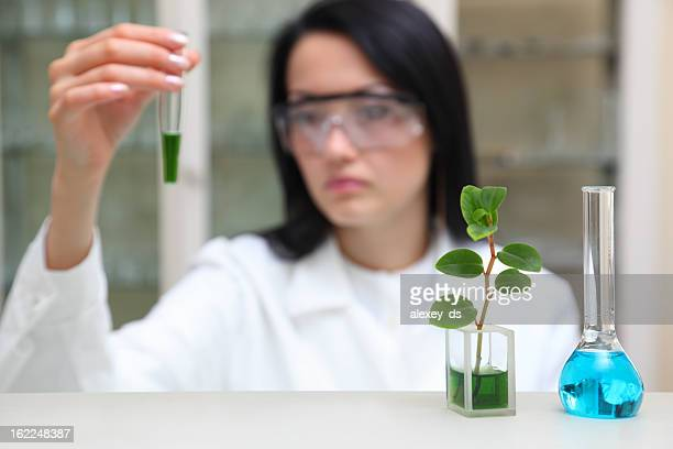 Woman-scientist works with liquid chemical agent
