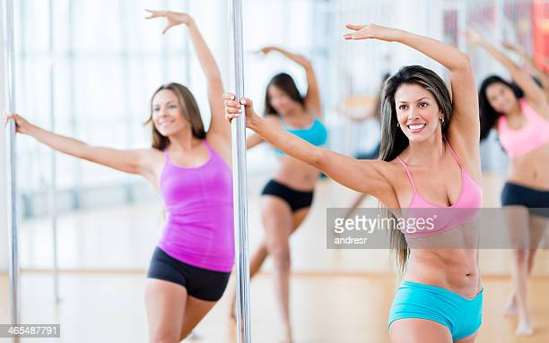 Women a class of pole dance