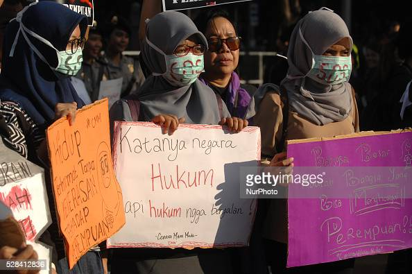 Women Action Committee during the protest against the sexual violence in Indonesia with the slogan quotSOSquot Save Our Sisters in Jakarta Indonesia...