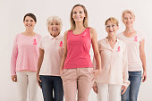 Group of women fighting against breast cancer