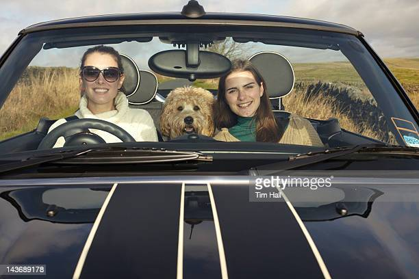 Women and dog driving in rural landscape