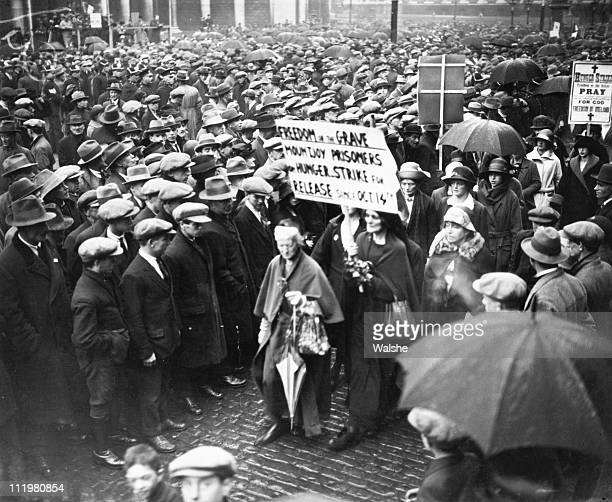 Women appeal for the release of detainees on hunger strike in Mountjoy Prison during the Irish elections October 1923 In the front is activist...
