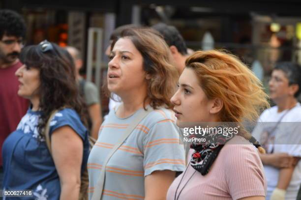 Women are seen during a march in support of sacked academic Nuriye Gulmen and primary school teacher Semih Ozakca in Ankara Turkey on June 24 2017...