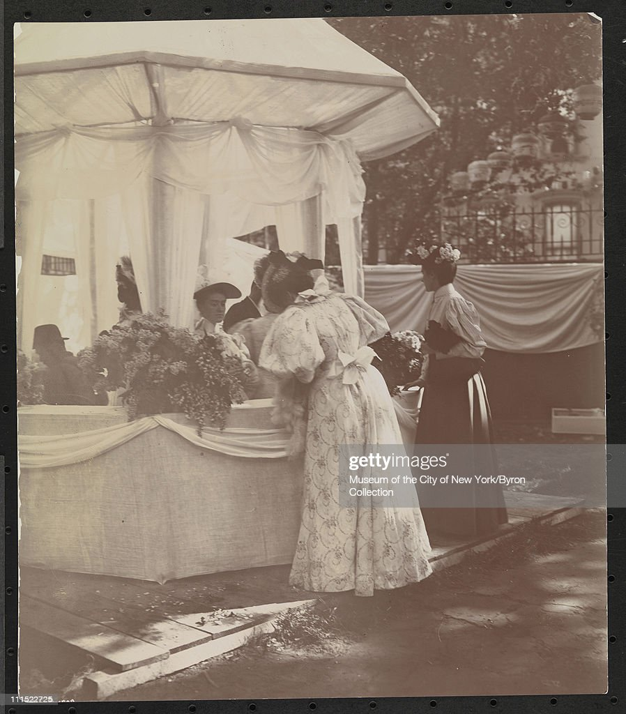 Women at a garden party at 37th Street and 5th Avenue to benefit Barnard College New York New York 1896