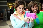 Women at a video arcade
