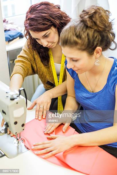 Women at textile and fashion production business
