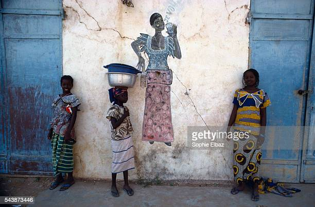 Women at the entrance of a bar in Mali