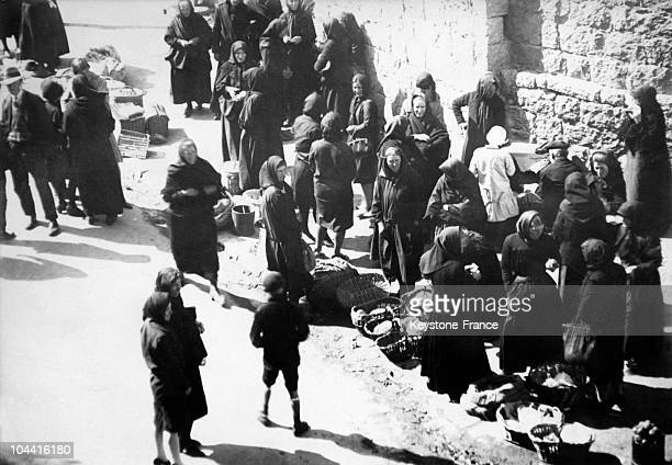 Women at the market in the citadel of PortoVecchio popular city on the Southeastern coast of Corsica around 1935