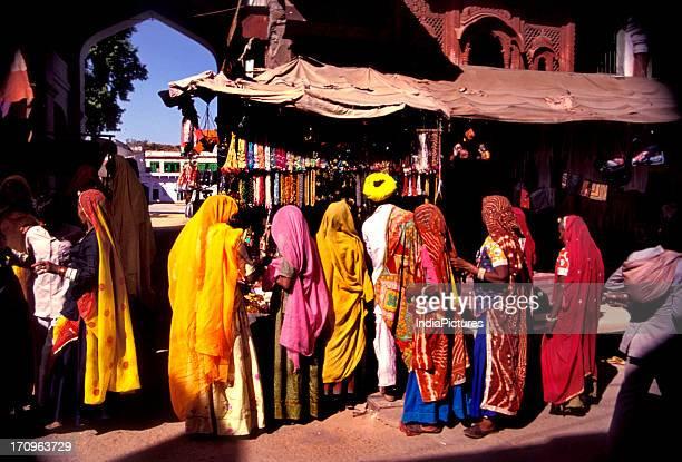 Women at the Pushkar fair market Rajasthan India