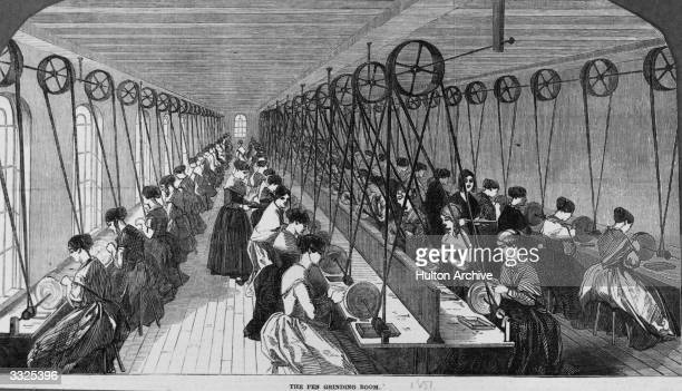 Women at work in a pen grinding room Original Publication Illustrated London News