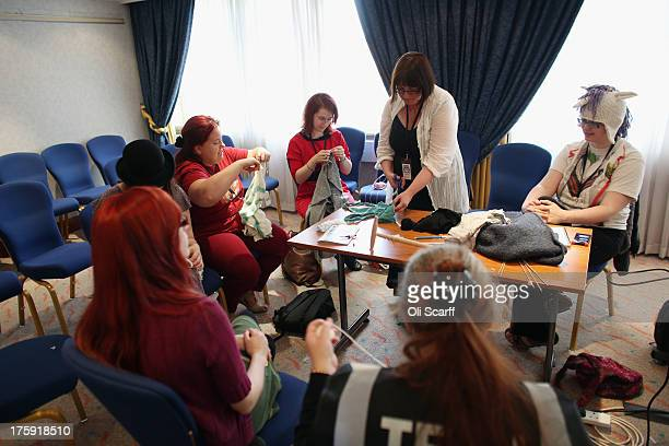Women attend a knitting workshop at the 'Nine Worlds Geekfest 2013' on August 10 2013 in London England The threeday Nine Worlds convention caters...