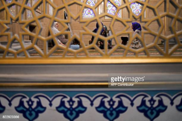 Women attend an Arabic language class inside the Heart of Chechnya Akhmad Kadyrov Mosque one of the largest mosques in Russia in central Grozny on...