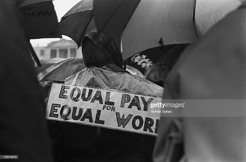 Women attend an Equal Pay for Equal Work demonstration in London's Trafalgar Square, May 1968.