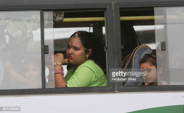 Women avail free travel in Rajasthan Roadways buses on the occasion of Raksha Bandhan festival on August 7 2017 in Jaipur India Raksha Bandhan or...