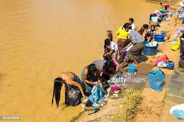 Women bathing in the river