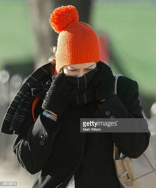 A women braves the cold as she walks near the US Capitol January 16 2004 in Washington DC The east coast is experiencing record low wind chills as...