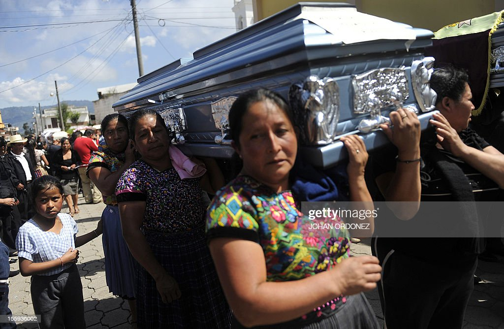 Women carry the coffin of one of ten victims of the earthquake --all members of the Vasquez family-- in San Cristobal Cucho municipality, in San Marcos, 260 km from Guatemala City, on November 9, 2012. A 7.4-magnitude earthquake rocked southwestern Guatemala on November 7, leaving 52 people dead, another 155 injured and 22 disappeared. The earthquake also rattled nerves in neighboring Mexico and El Salvador, sparking a tsunami alert on the Salvadoran coast and evacuations from offices, homes and schools as far north as Mexico City. AFP PHOTO/Johan ORDONEZ