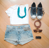 Women casual summer clothes. Top view. Fashion basic collection.