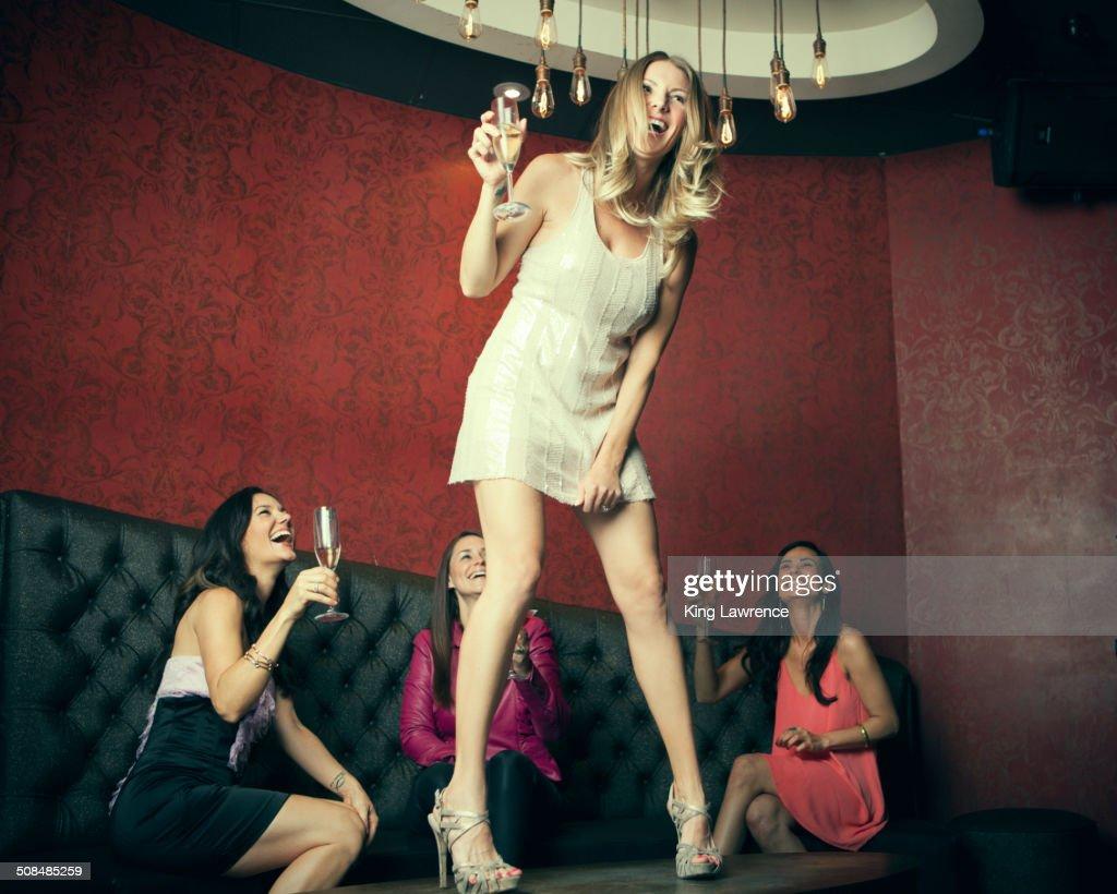 Women celebrating in nightclub