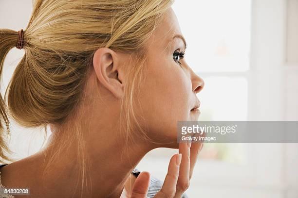 Women checking face