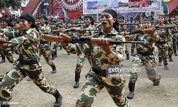 CRPF women commando team during the demonstration of its skills at India International Trade Fair on November 24 2013 in New Delhi India The 14day...
