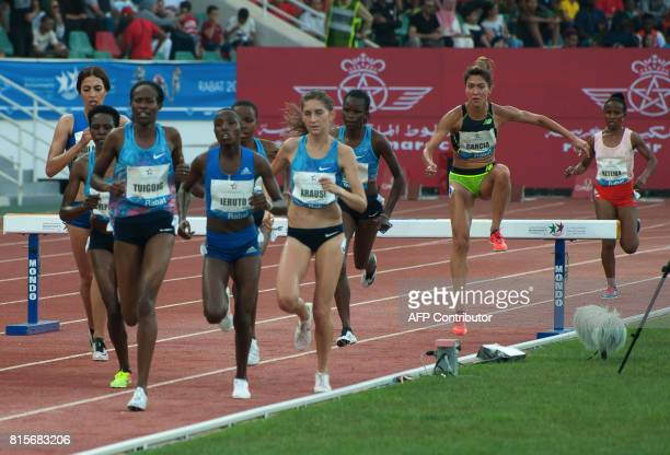 Women compete in the 3000m steeplechase at the IAAF Diamond League Mohammed VI Athletics meeting in Rabat on July 16 2017 / AFP PHOTO / STRINGER