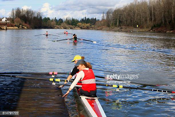 Women Competing In Fort Langley Rowing Regatta