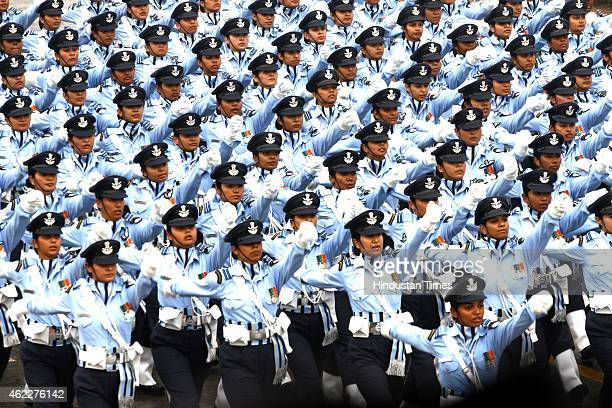 Women contingent march past during the ceremony of 66th Republic Day of India at Rajpath on January 26 2015 in New Delhi India President of United...