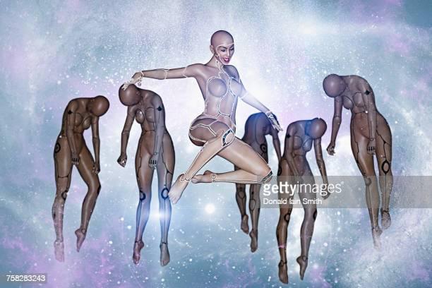 Women cyborgs floating in the cyberspace