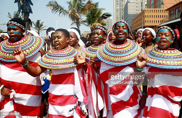 Women dance as they take part in the Indoni festival on October 102015 in Durban The Indoni festival a threeday feast showcases traditions of South...