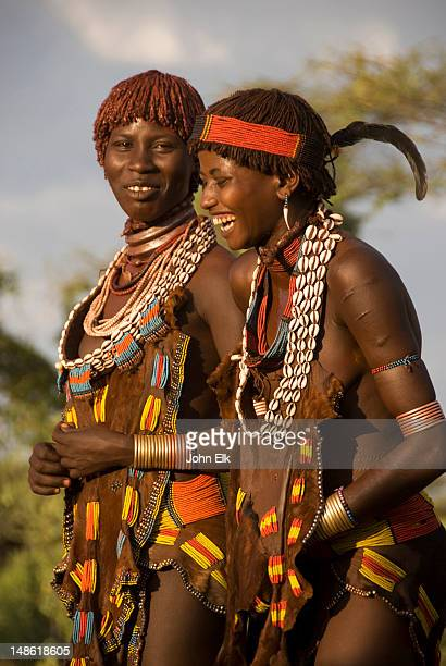 Women dancing in Hamer tribe village, Omo Valley.