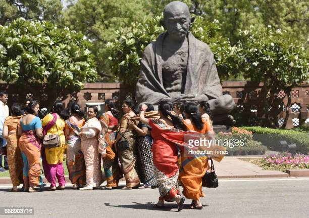 Women delegation pose for group photo as they visit Parliament during the second leg of Budget Session on April 10 2017 in New Delhi India The Lok...