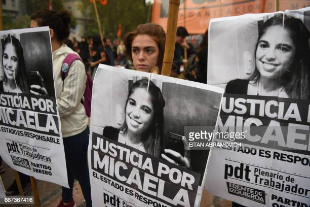 Women demonstrate on April 11 2017 at Plaza de Mayo square in Buenos Aires against gender violence and in solidarity with Argentina's latest femicide...