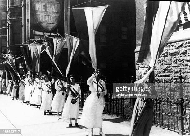 Women demonstrators outside the Republican Convention demanding the right to vote Chicago Illinois 1920