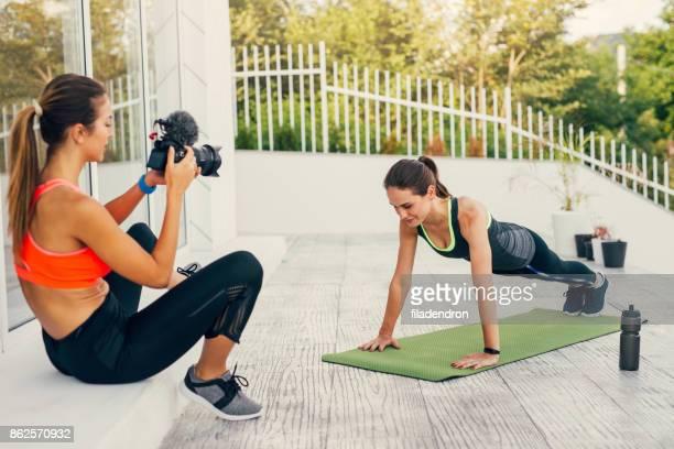 Women doing an exercise vlog