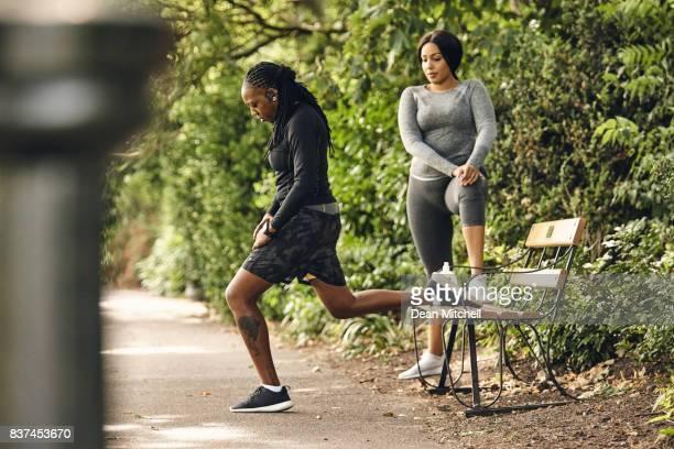 Women doing exercise in the park