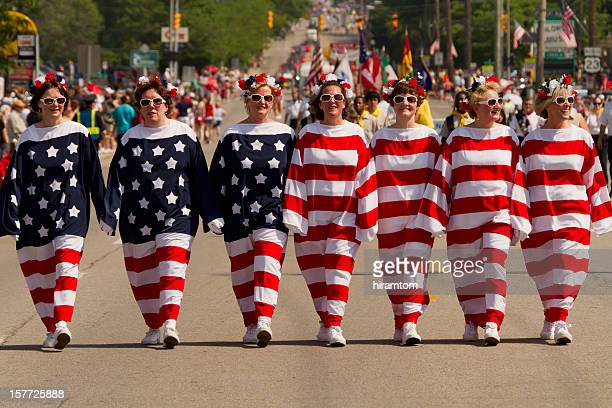 Women Dressed as a Living American Flag