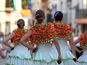 Women dressed as 'flamencas' in parade