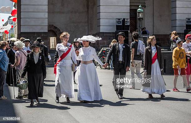 Women dressed as suffragettes, Copenhagen, Denmark